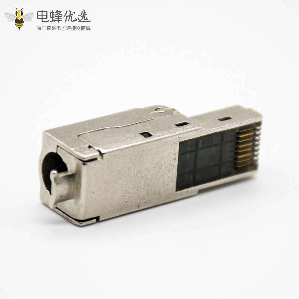 RJ45信息模块插头免打带屏蔽超六类8芯直式插头