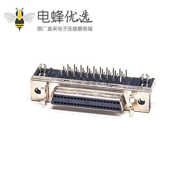 SCSI母连接器40芯HPDB母头弯式插板PCB板安装