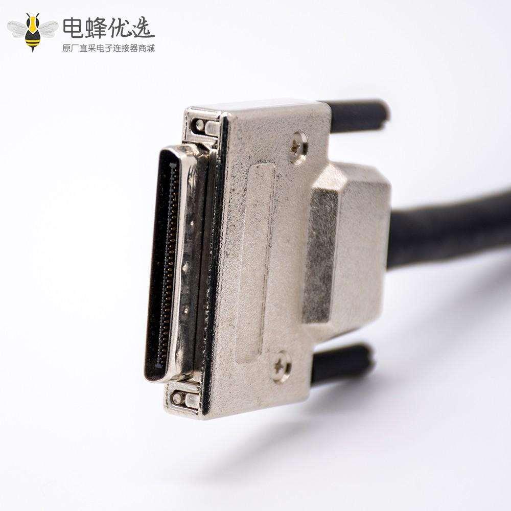 金属外壳VHDCI公头转公头68针直式注塑成型电缆带螺丝固定0.2M