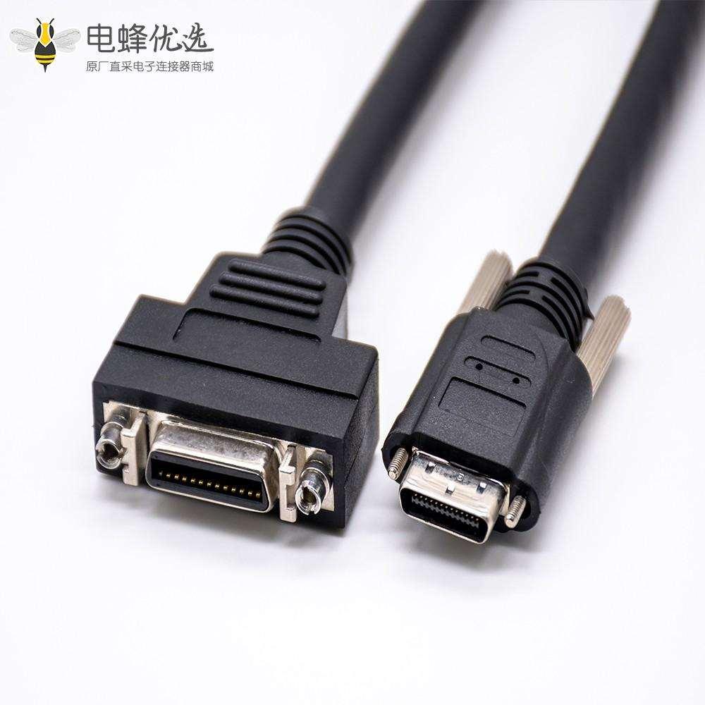 26针SCSI公连接器转VHDCI直式公头连接器注塑电缆1米