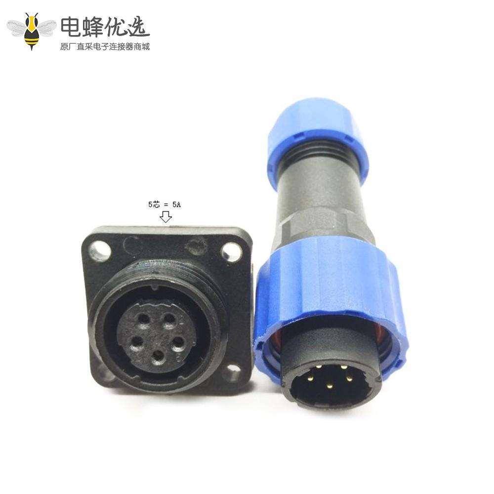 SP17 航空插头5芯公插头+母方形插座一对4孔法兰面板安装