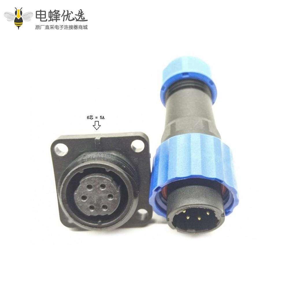 SP17 连接器插头6芯公插头+母方形插座一对4孔法兰面板安装