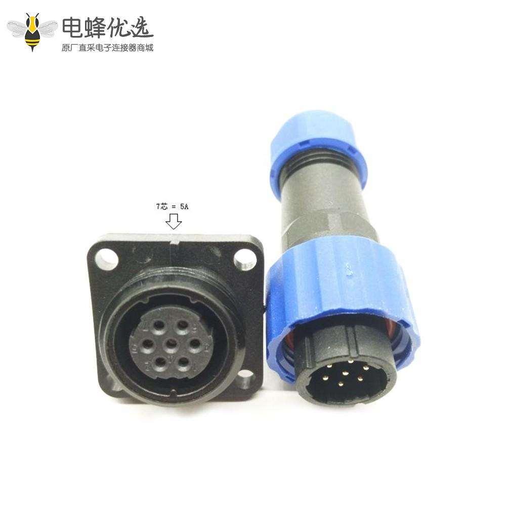 防水航空插头插座SP17 系列7芯公插头+母方形插座一对4孔法兰面板安装