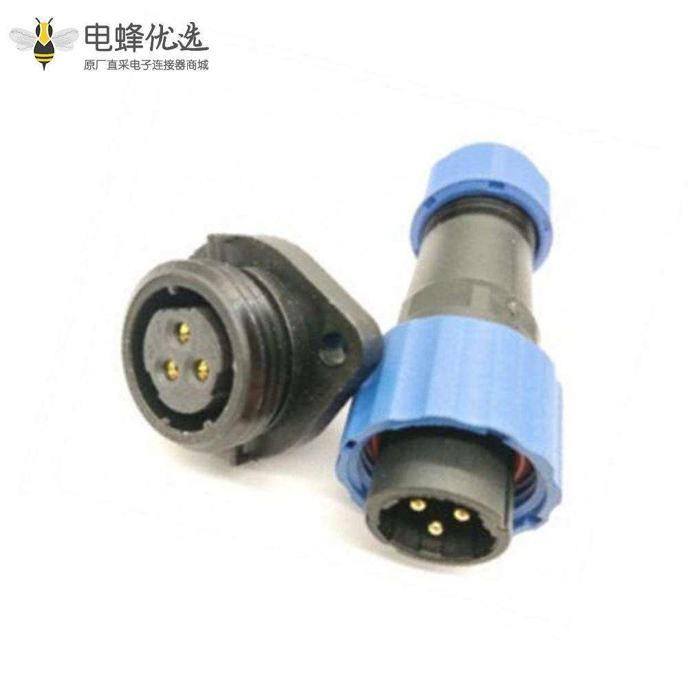 电源防水接头SP17 系列3芯公插头+母菱形插座一对2孔法兰面板安装