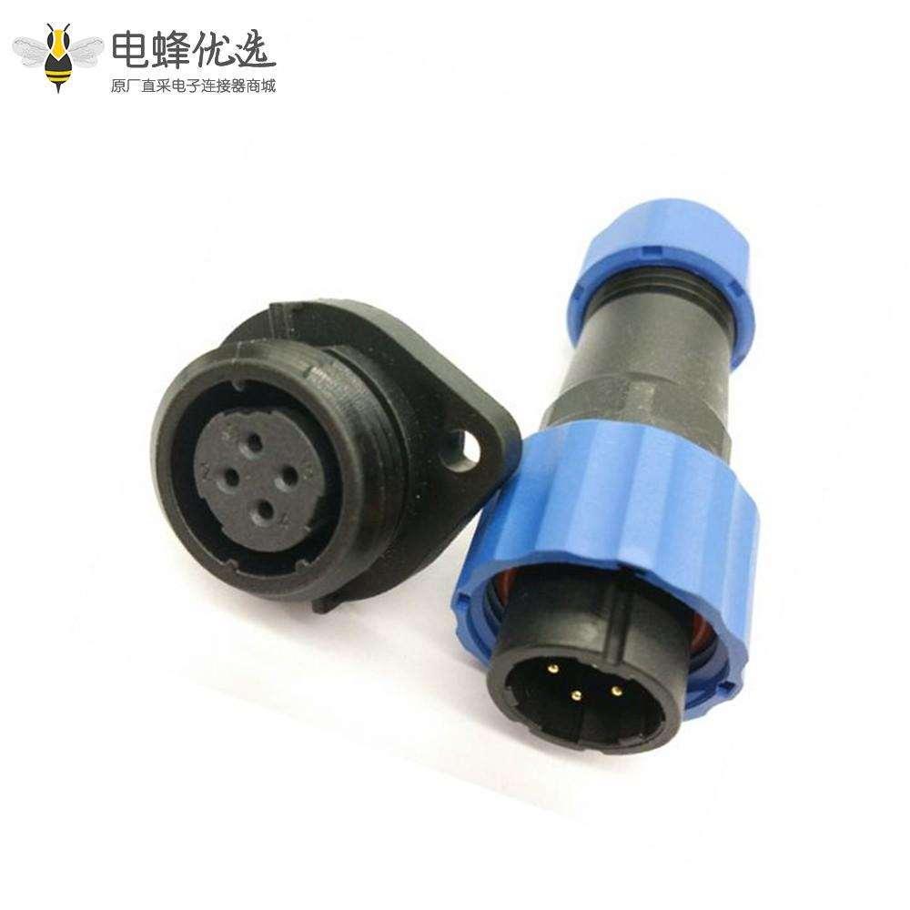 SP17 连接器插头4芯公插头+母菱形插座一对2孔法兰面板安装
