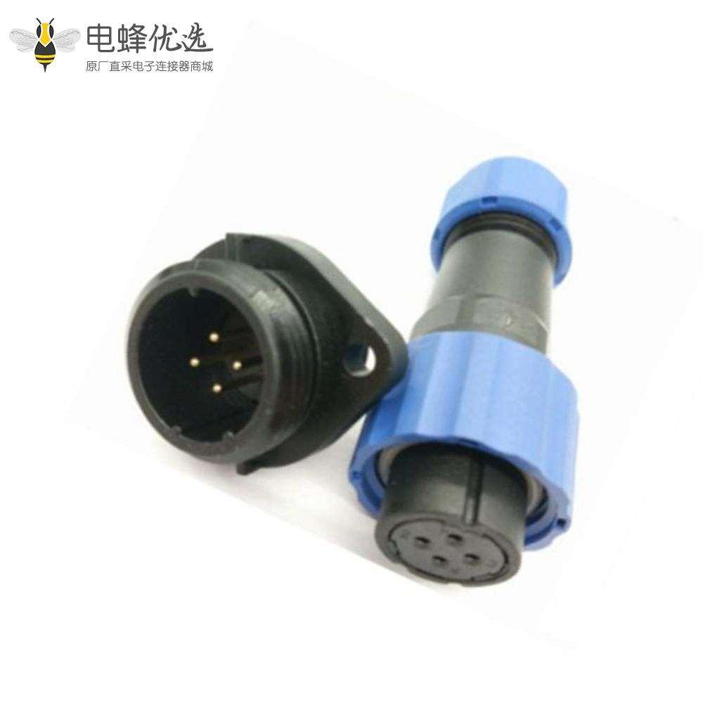 防水航空插头插座SP17 系列4芯母插头+公菱形插座一对2孔法兰面板安装