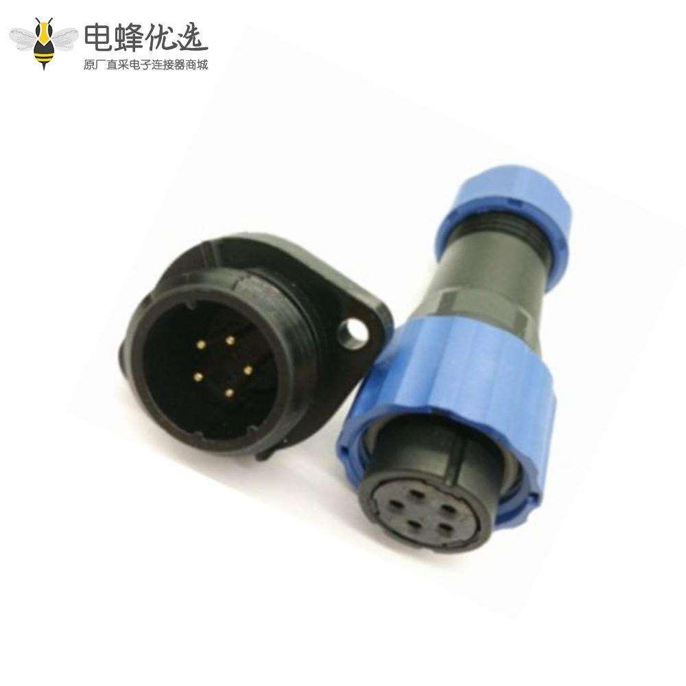 防水航空插头插座 SP系列5芯母插头+公菱形插座一对2孔法兰面板安装