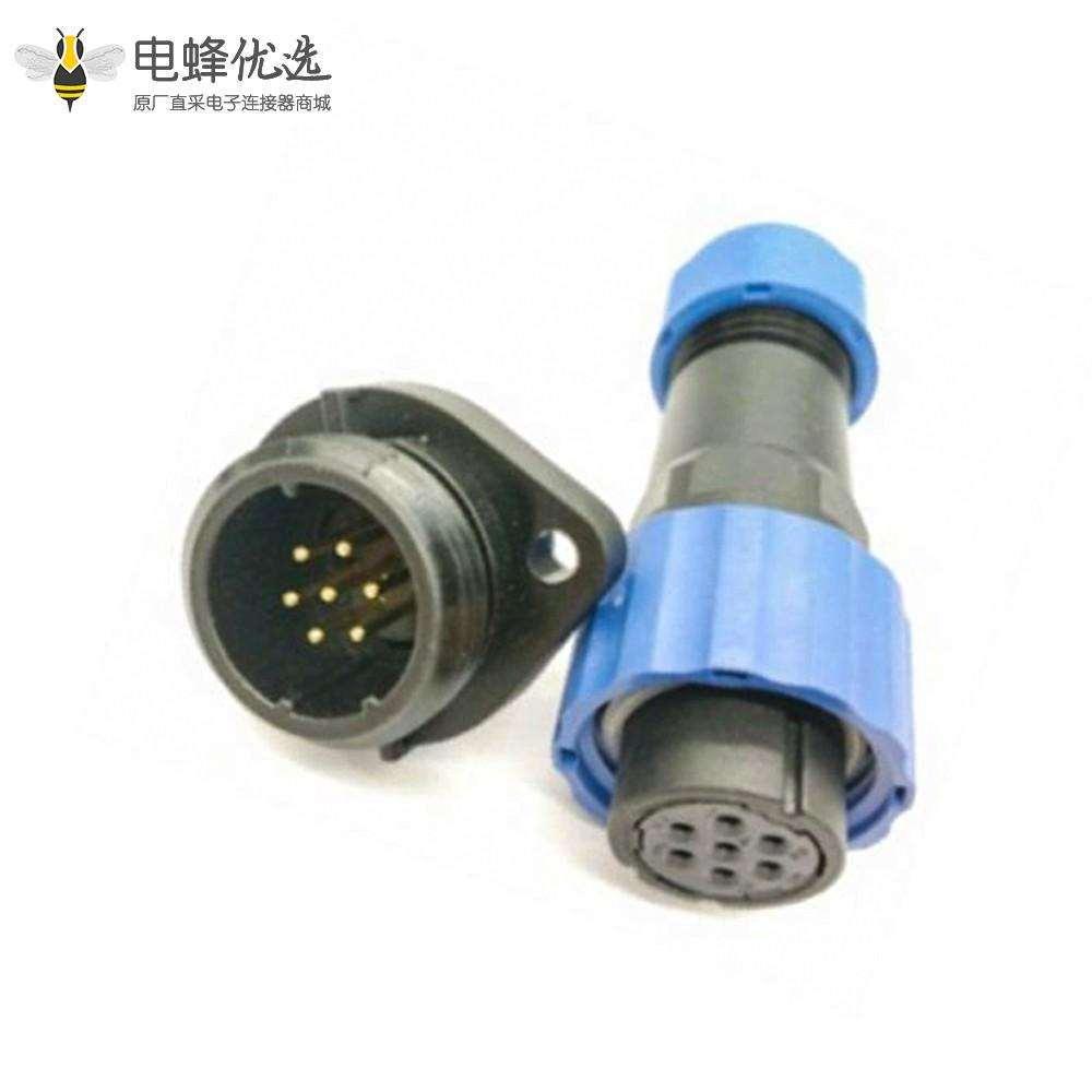 航空插针SP系列7芯母插头+公菱形插座一对2孔法兰面板安装