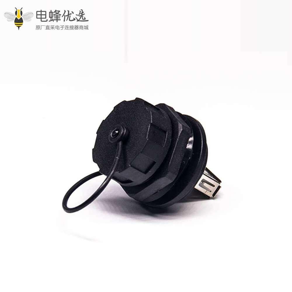 USB 2.0 A转接头直式母转公IP67前锁板带防尘盖