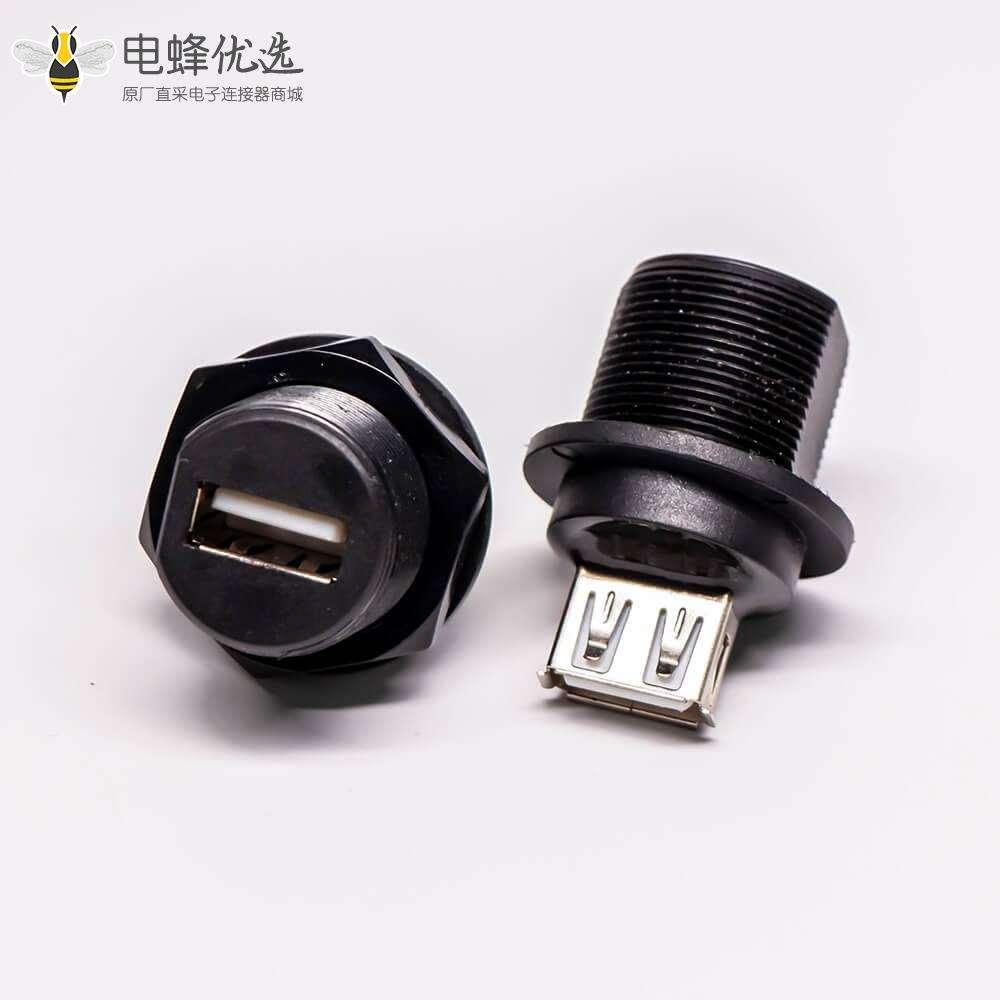 USB2.0 Type A母转母直式前锁板防水IP67转接头