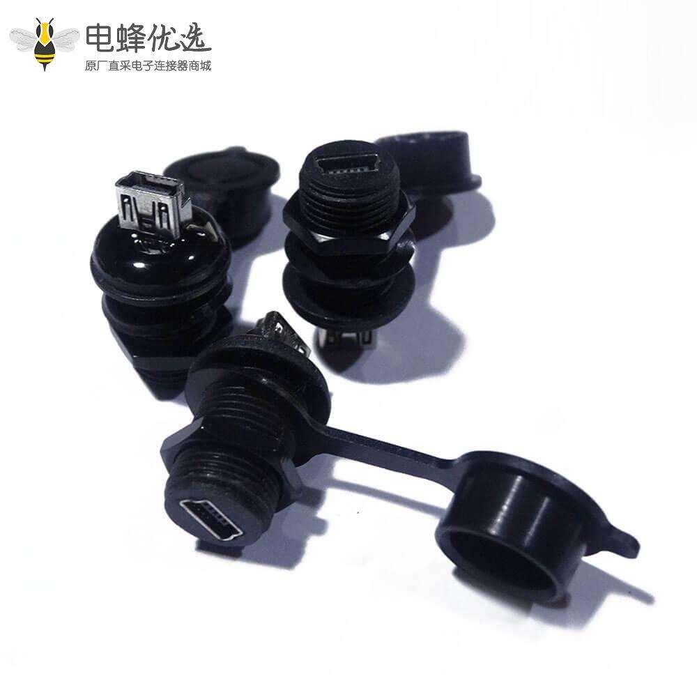 Mini USB5芯M12-1.0母转母直式IP67转接头