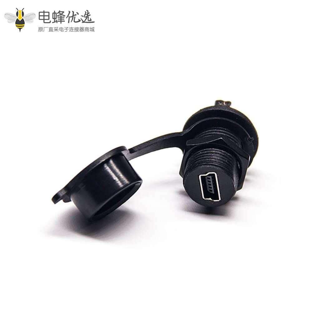 Mini USB 5芯M12螺纹母转母直式IP67转接头