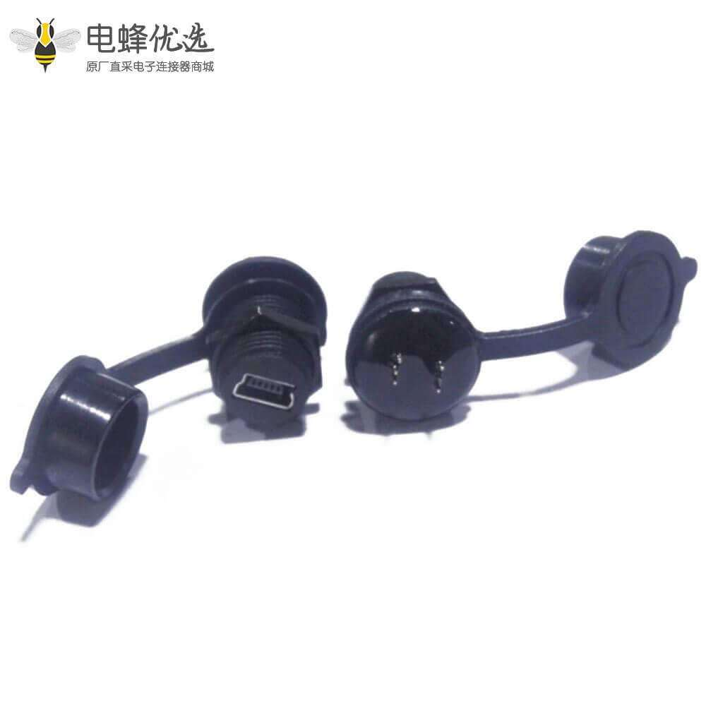 防水Mini USB5芯母转公直式IP67转接头