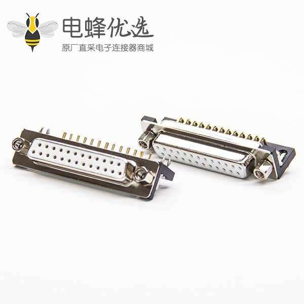 DB连接器90度弯式25pin母头车针式带铆锁式插PCB板白色胶芯