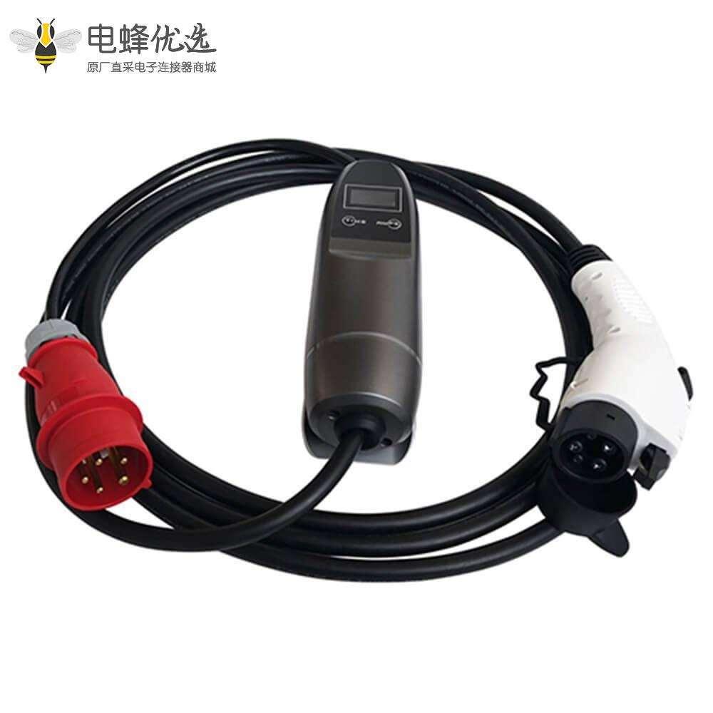 新能源汽车充电枪 美标 16A家用便携式充电线 电动汽车充电线接红色CEE插头