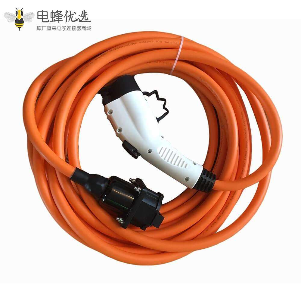 电动汽车充电线美标转欧标转换插头10米充电枪32A