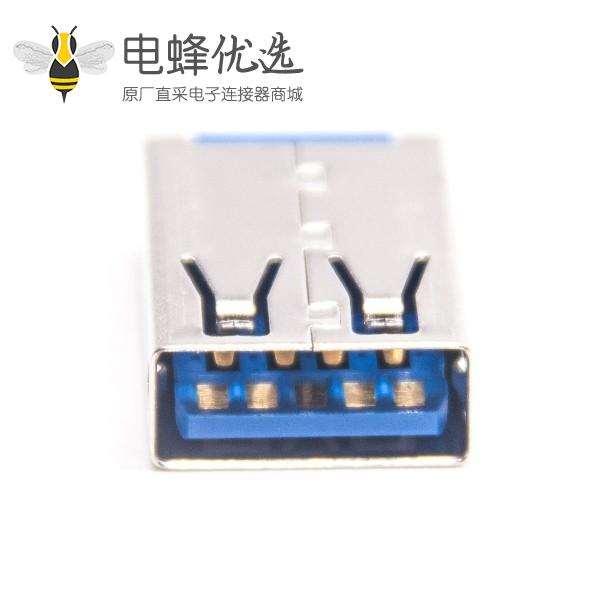 usb母座3.0不带卷边13.5mmLCP蓝胶1U