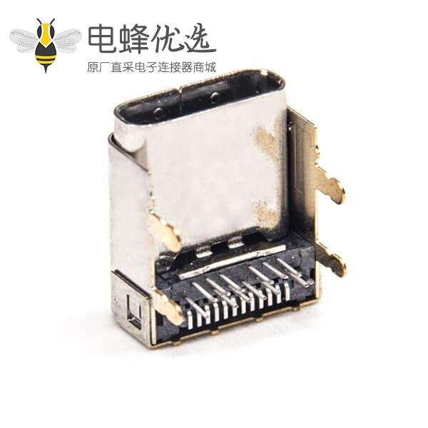 Type C母头连接器弯式24针插PCB板