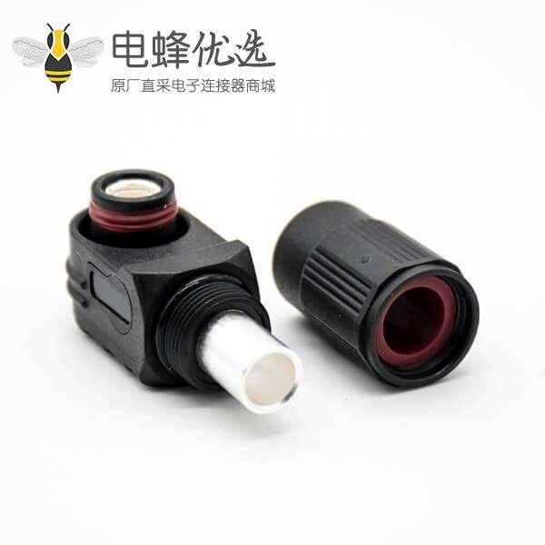 储能连接器IP67塑料黑色14mm单芯400A接线弯式插头