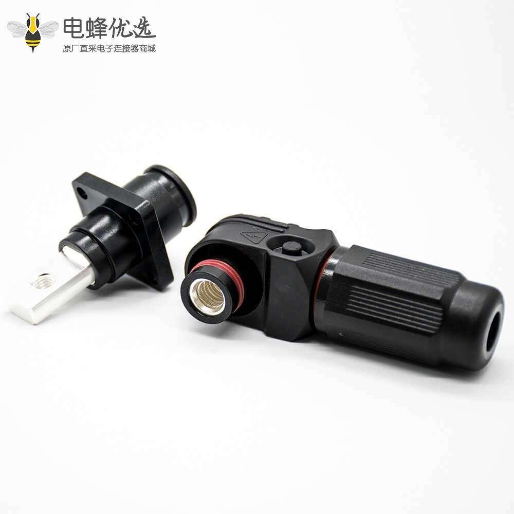储能电池连接器6mm黑色IP65 60A带孔铜牌弯式插头和插座