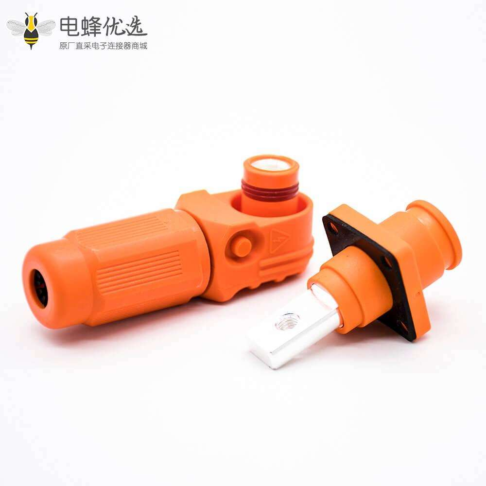 新能源汽车换电连接器弯式60A插头插座6mm橙色IP65防水连接器