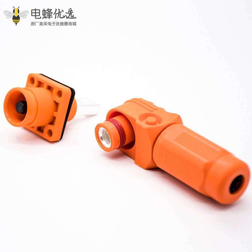 新能源高压防水大电流连接器100A弯式6mm橙色IP65插头插座一对