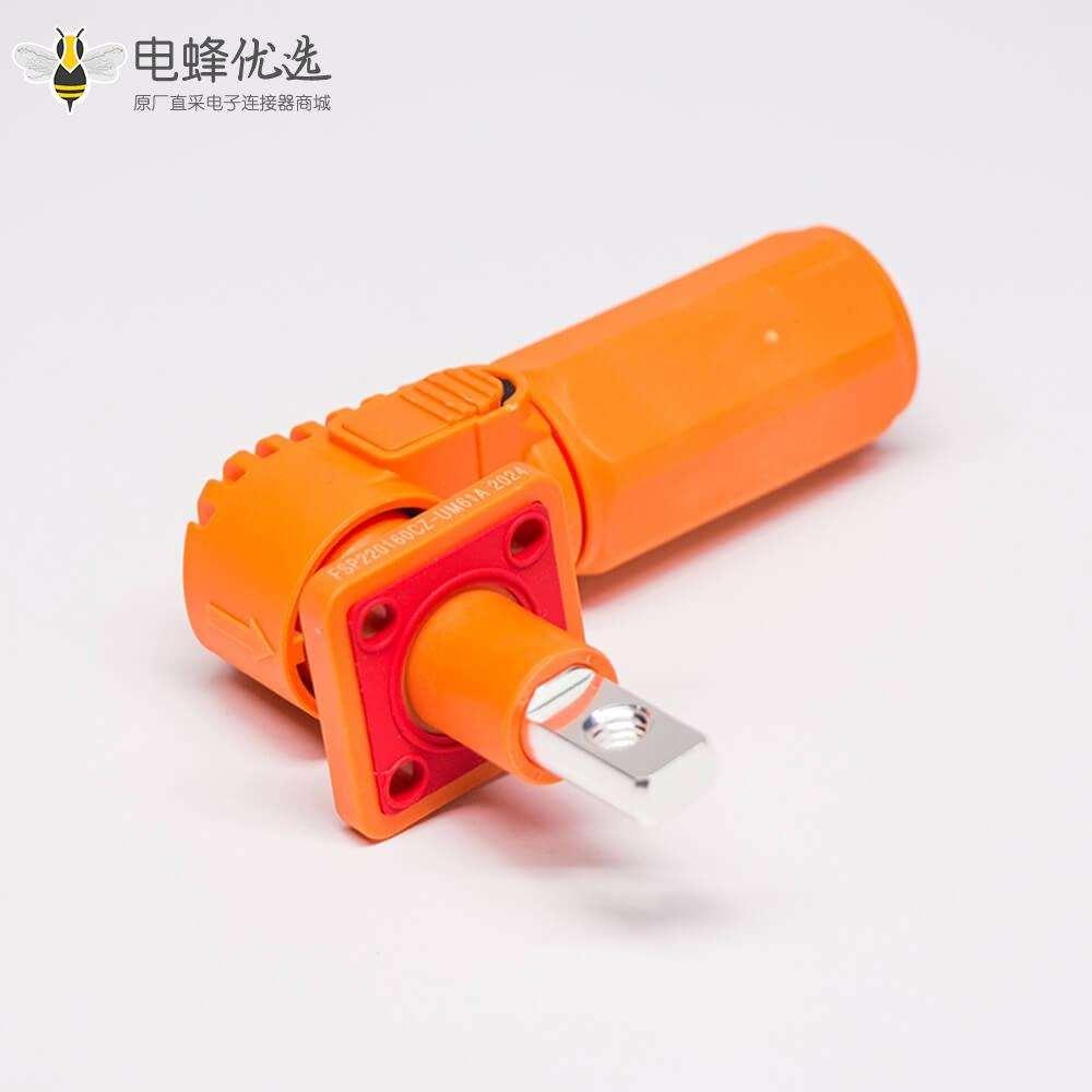 单芯防水连接器IP67橙色弯式6mm70A带孔铜牌公母对接