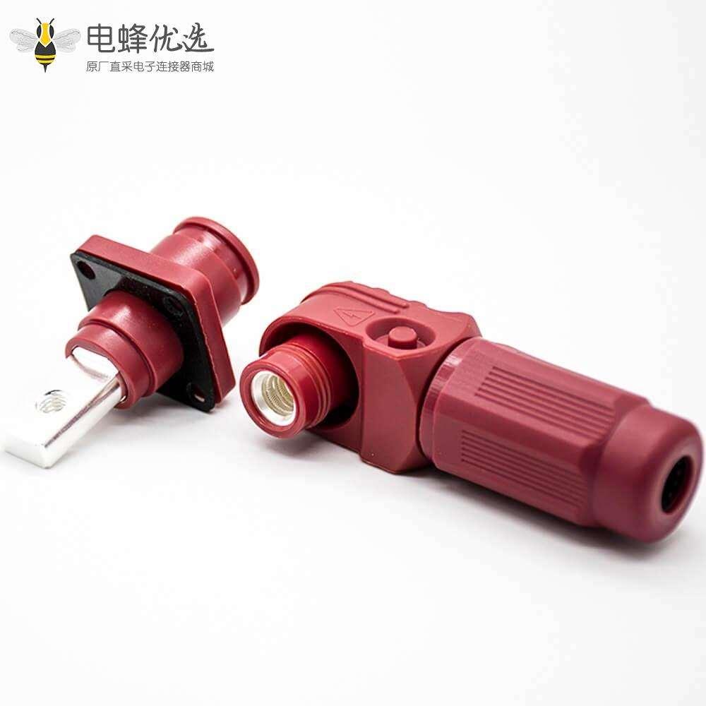 新能源电源储能连接器单芯6mm公母插座插头直弯对接60A红色塑料防水IP67铜牌连接