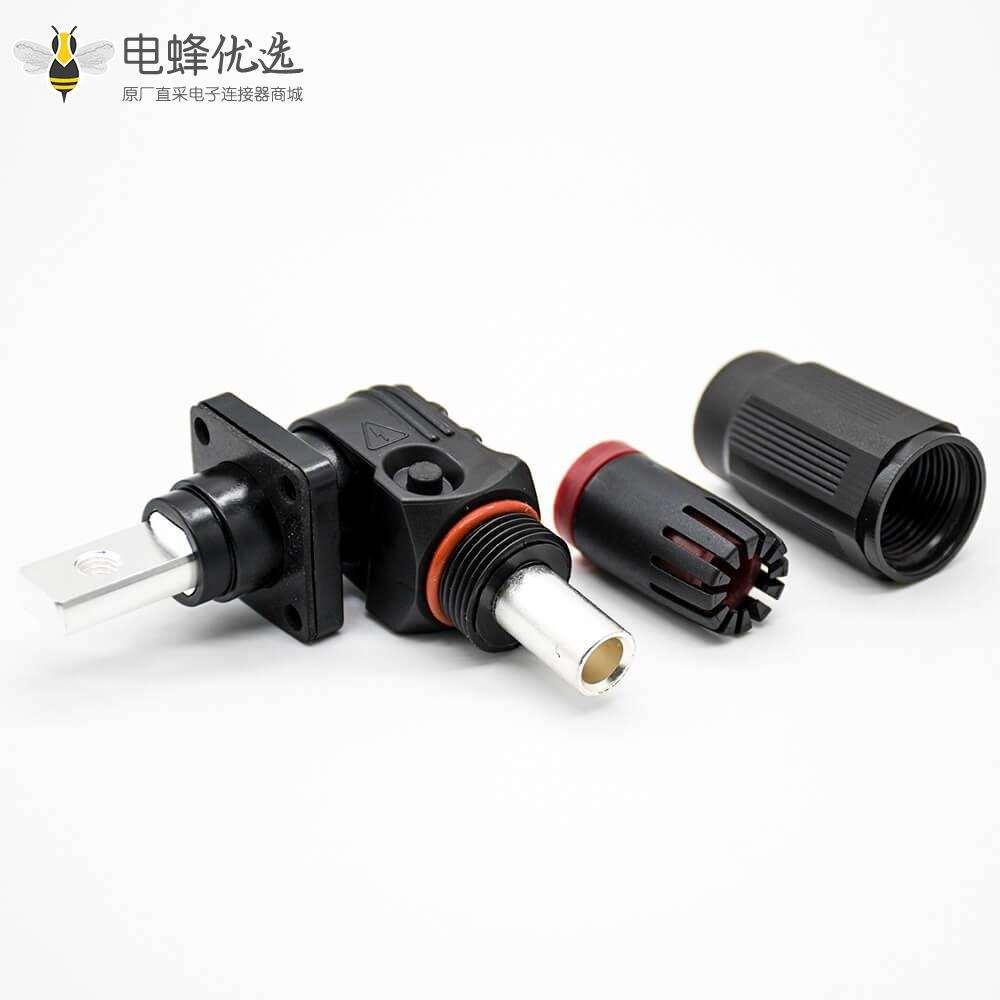 新能源电源储能连接器弯式8mm黑色插头插座150A带孔铜牌IP65防水