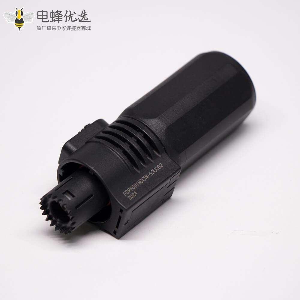 大电流防水连接器IP67黑色8mm 200A直式插头插座对接款