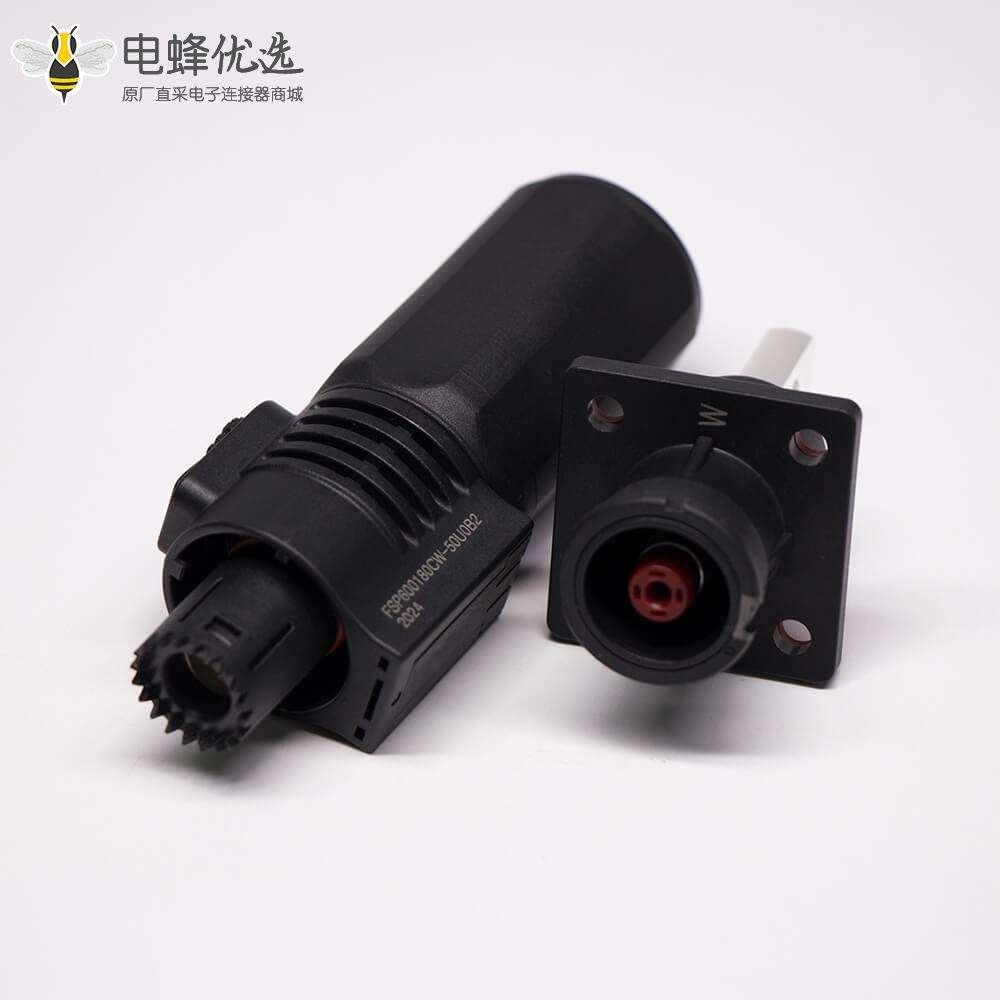 储能电池连接器直式IP67防水150A铜牌对接8mm黑色插头插座