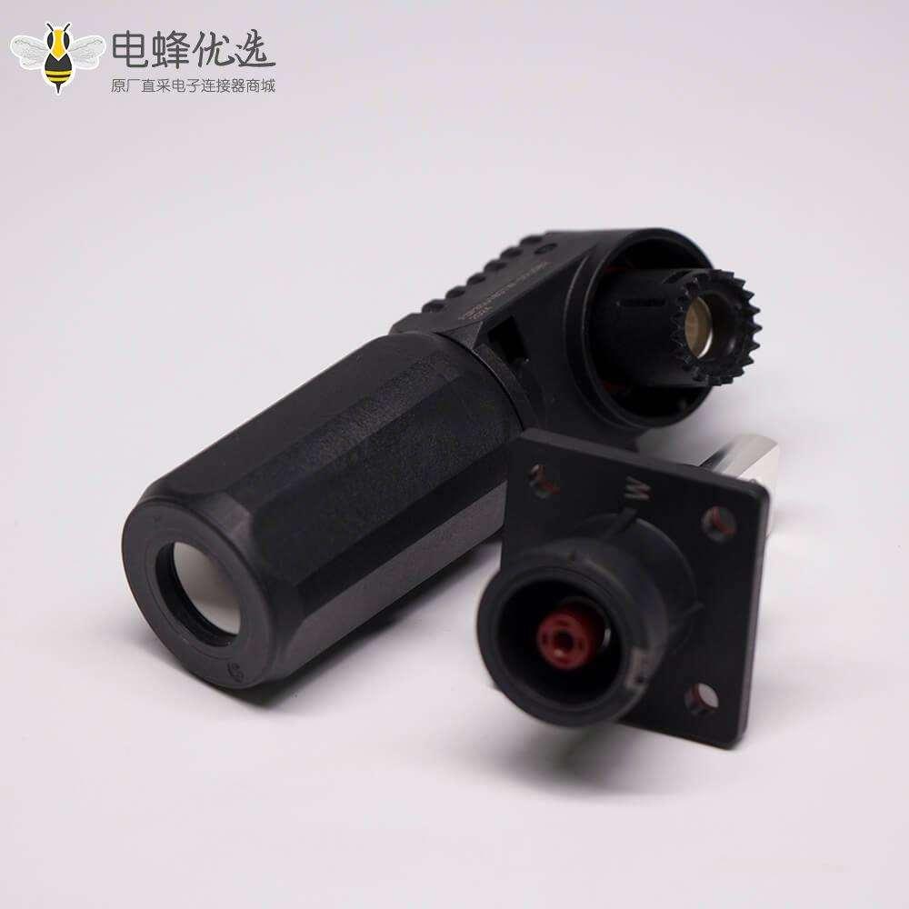 新能源高压防水大电流连接器200A弯式插头插座8mm黑色一套