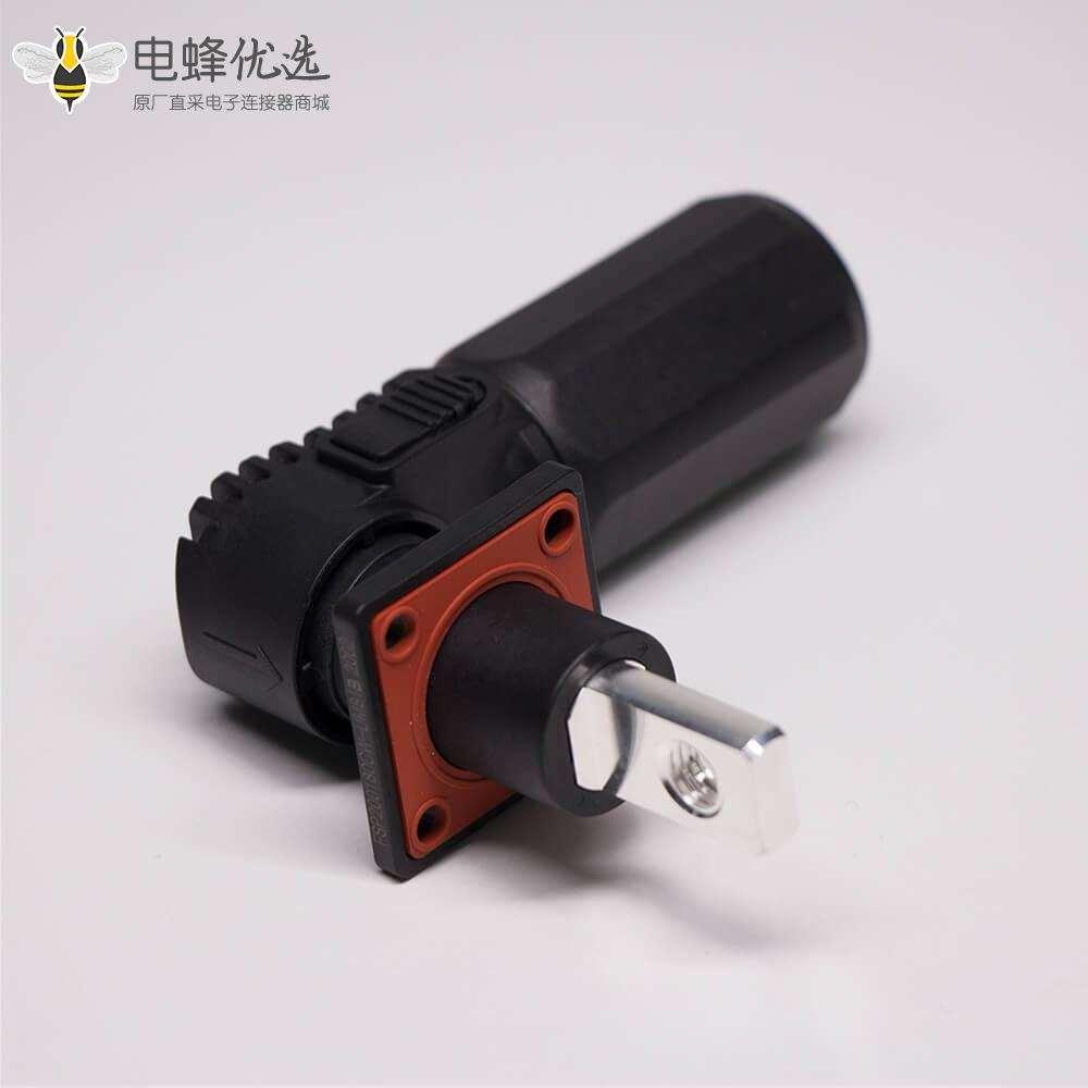 单芯大电流连接器弯式8mm黑色插头插座一套125A带孔铜牌连接