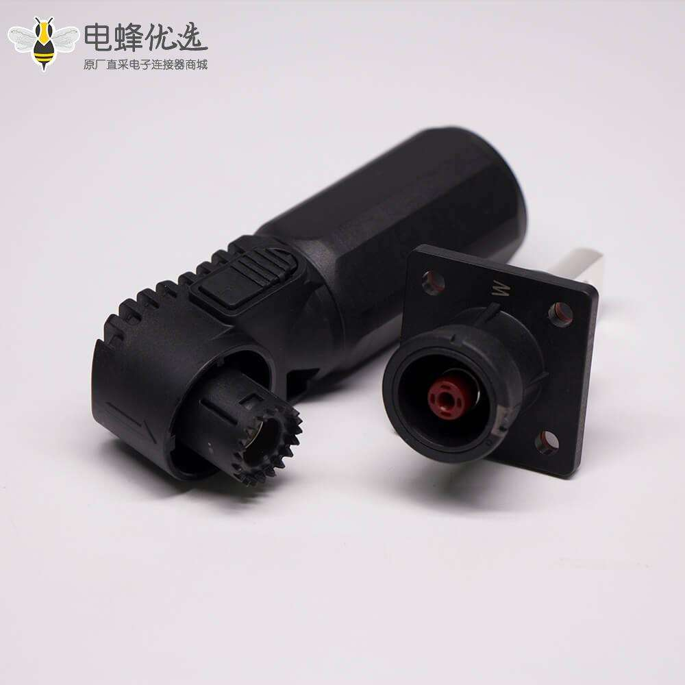 高压大电流连接器弯式8mm黑色插头插座一套对接款250A