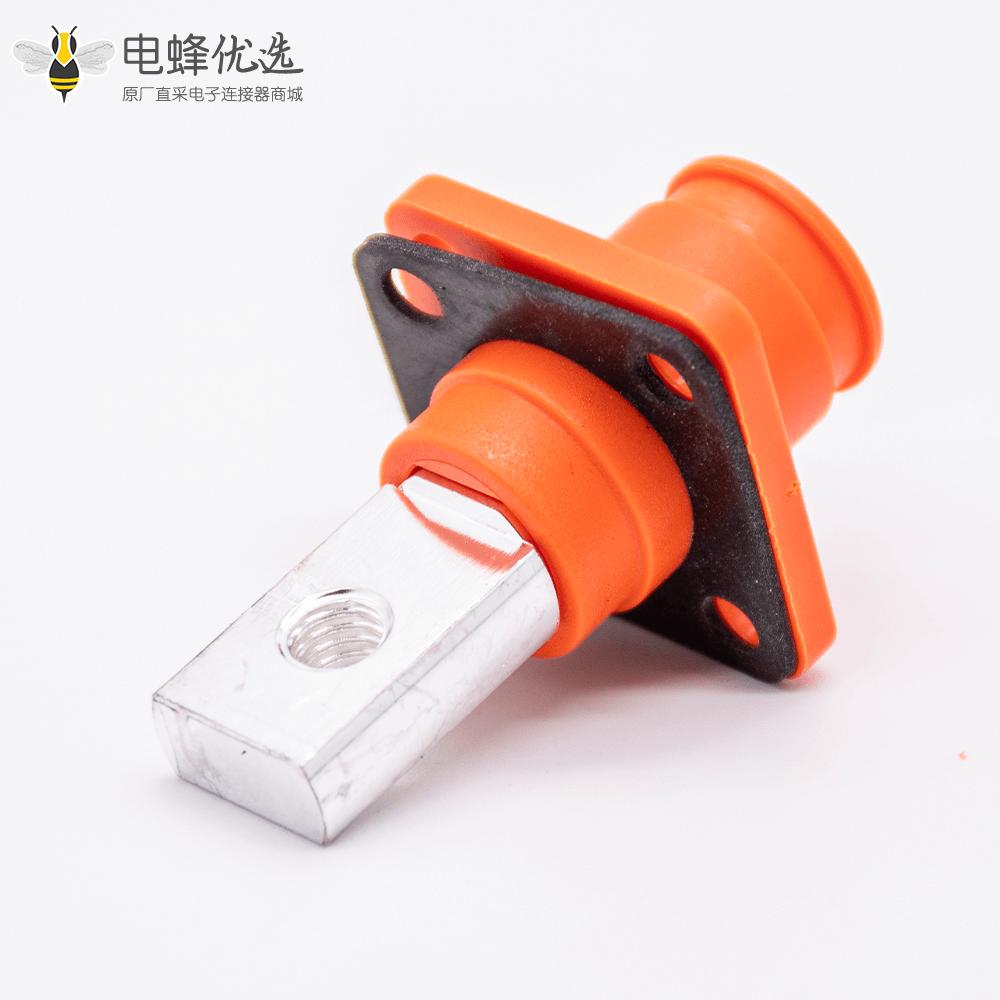 高压大电流连接器弯式插头8mm橙色IP65 120A铜牌带孔插座
