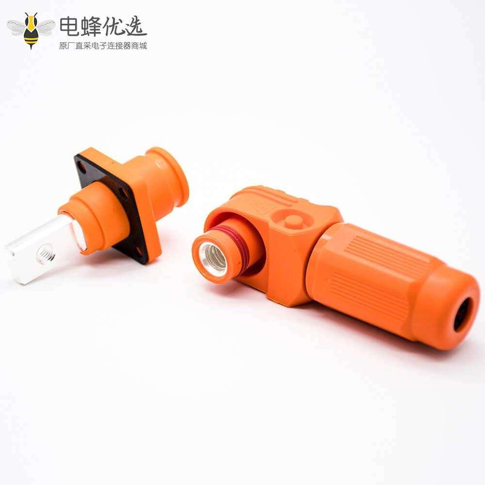 储能电池连接器8mm橙色弯式插头插座IP65 150A大电流防水连接器