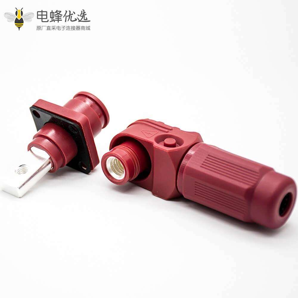 新能源电源储能连接器200A红色带孔铜牌8mm弯式插头插座