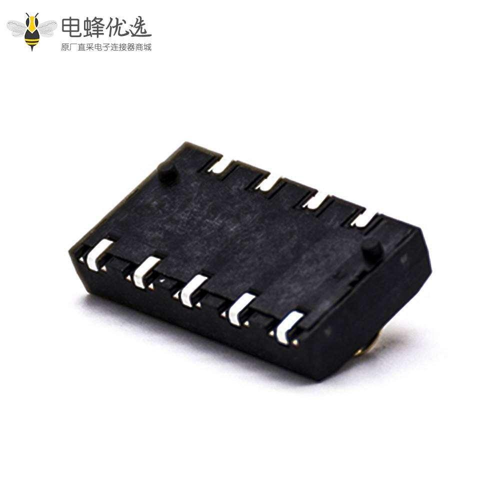 手机锂电池座5芯镀金电源接触弹片4.0PH塑高4.0H