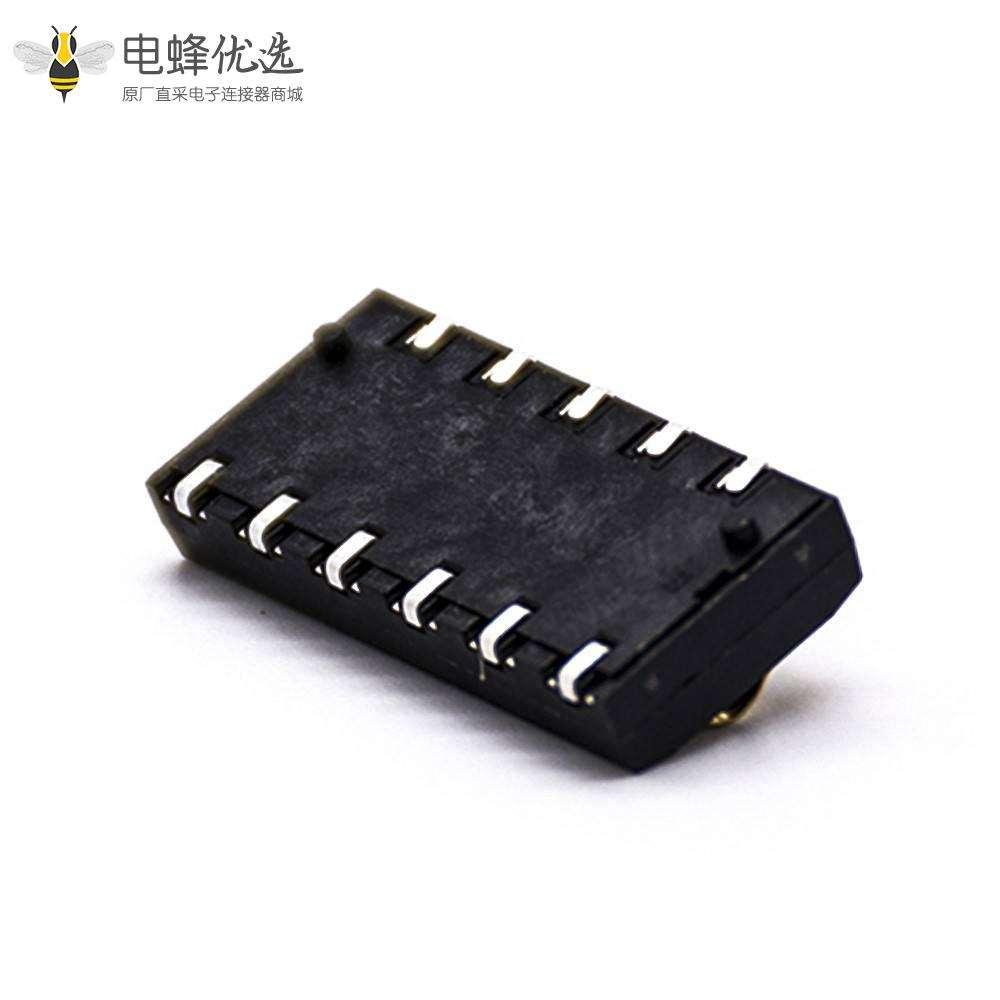 电池弹片连接器6芯卧式电池座4.0PH塑高4.0H镀金