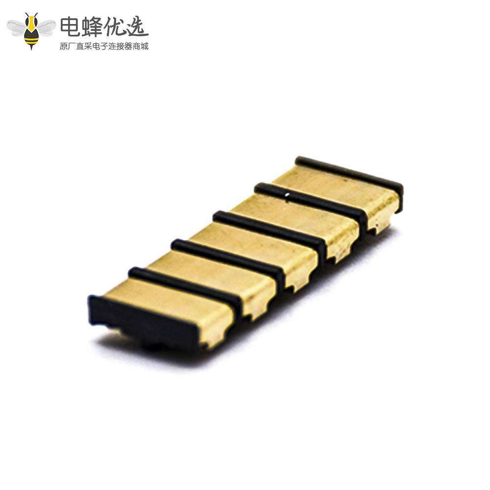 锂电池座充镀金5芯接触片间距4.0塑高1.9HPCB板安装