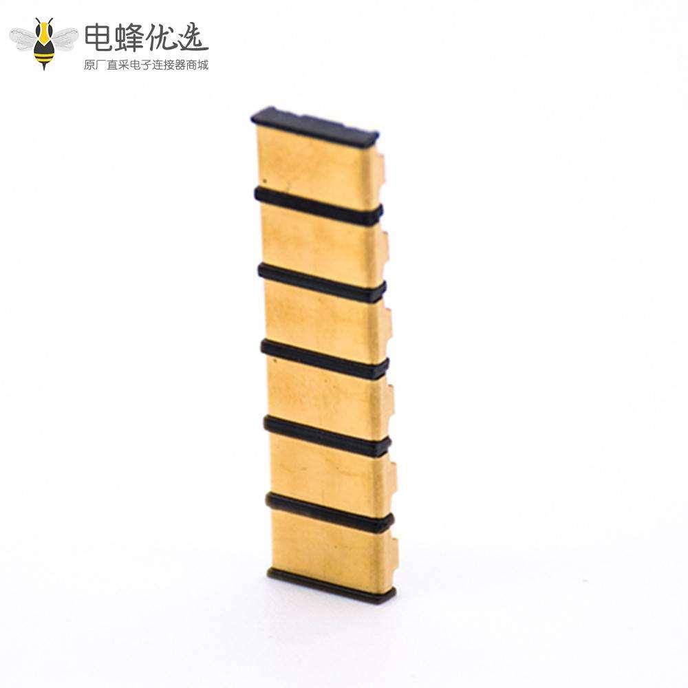 弹片式电池连接器6芯镀金接触弹片4.0MM间距塑高1.9H