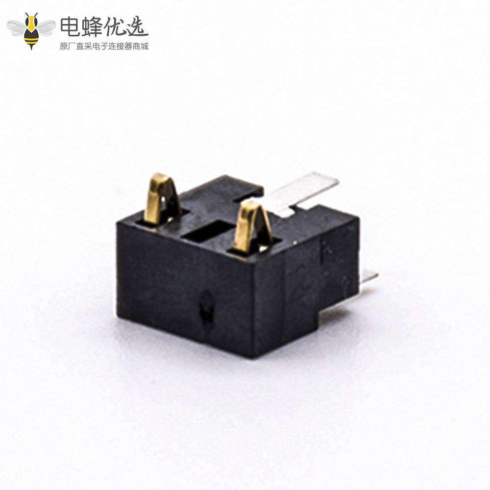 插件电池座镀金电源接触弹片2芯5.0PH塑高7.0H