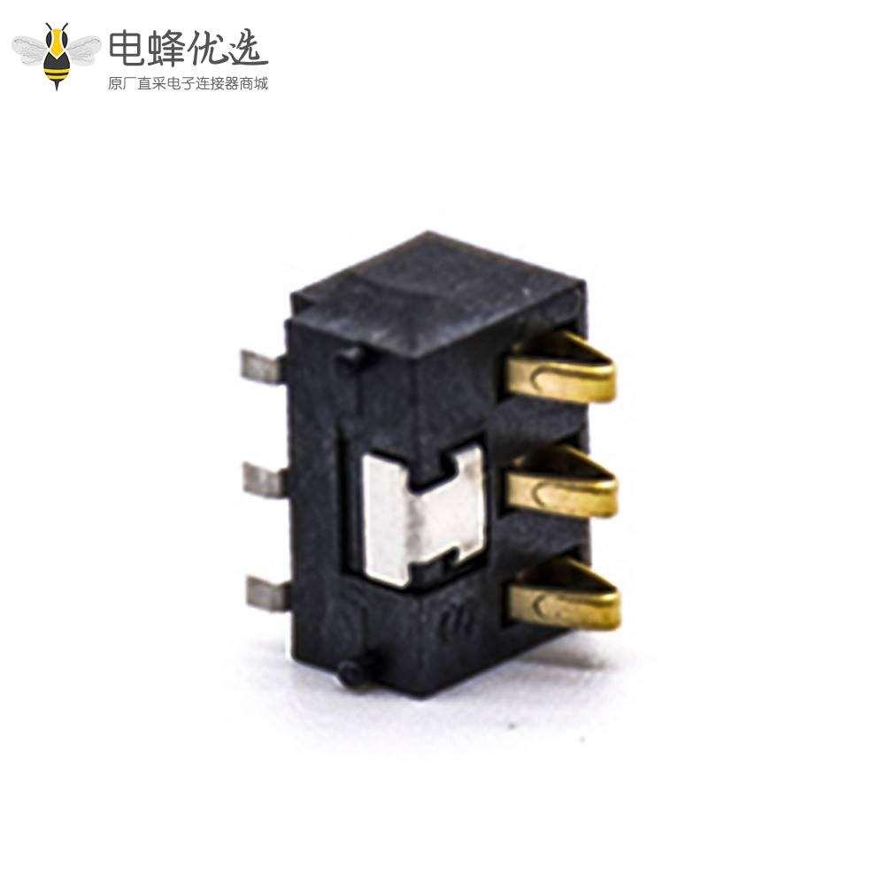 3P弹片式电池连接器2.5MM间距塑高5.4H镀金电源接触片