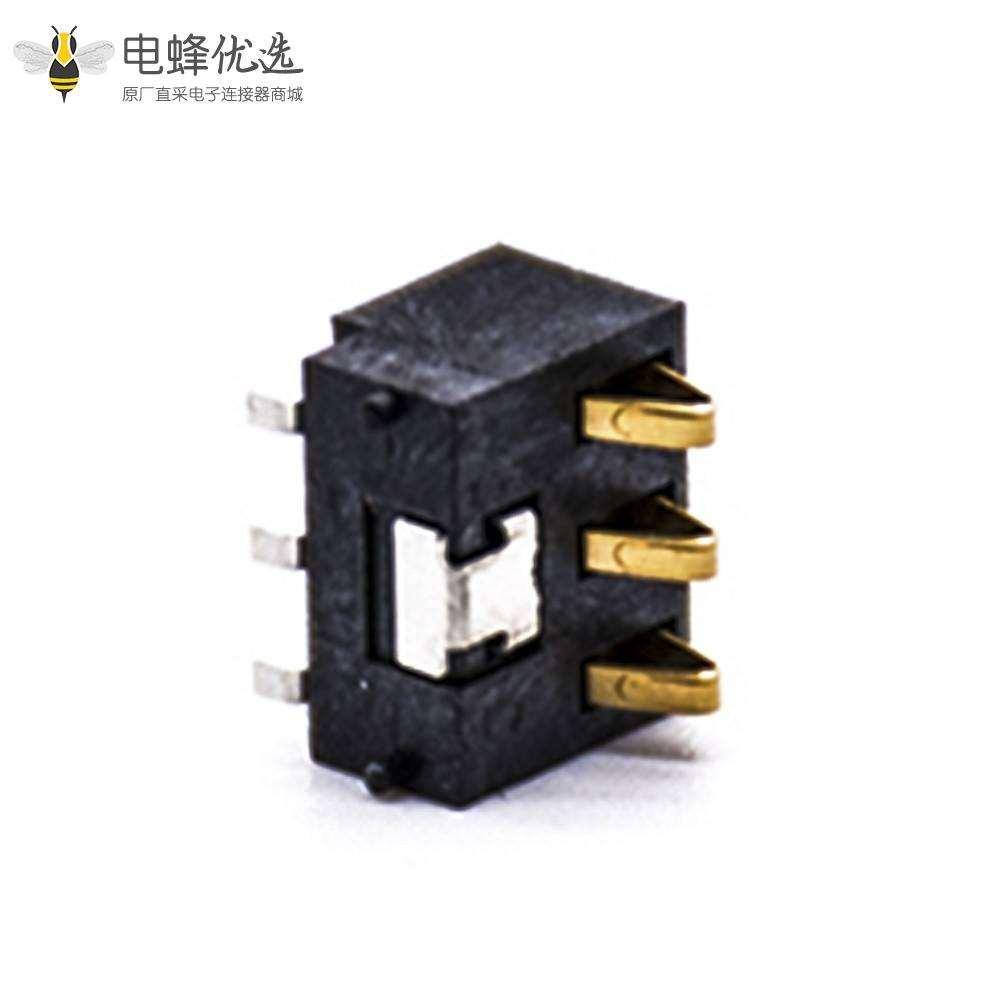2.5间距电池连接器3芯电池座镀金接触弹片PCB板安装