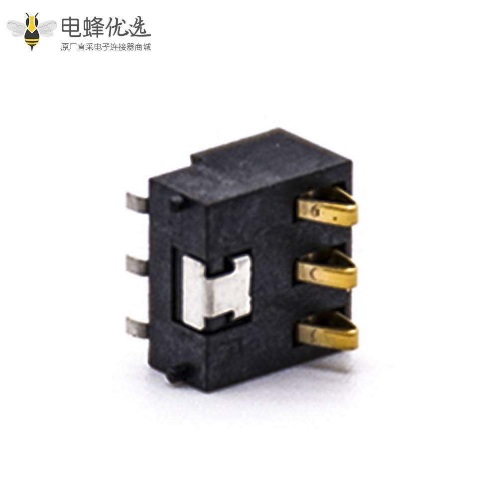 手机电池座接触弹片3芯PCB板安装2.5间距手持设备专用电池座