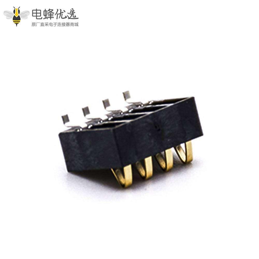 手机电池接触弹片镀金4芯2.5MM间距PCB板安装