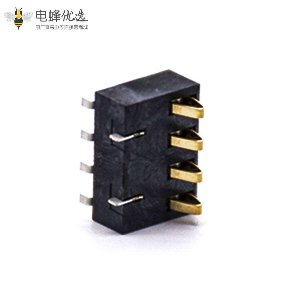 电池座手机锂电池接触弹片镀金4芯间距2.5塑高7.0H