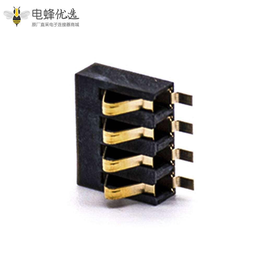 电池接触弹片2.5MM间距镀金贴板4芯卧式电池座