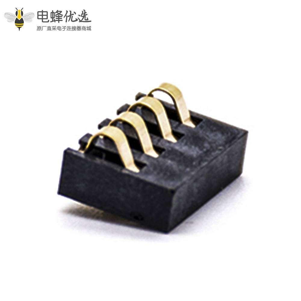 手机电池座弹片式4芯2.5间距塑高3.0H镀金接PCB板