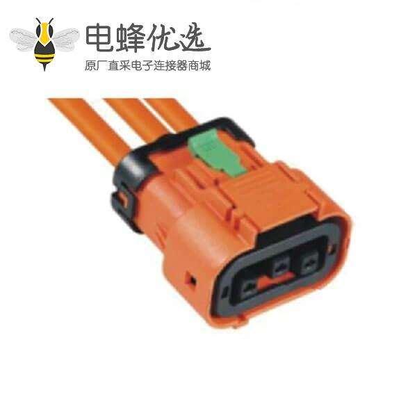 高压大电流连接器23A3芯插头防水高压互锁
